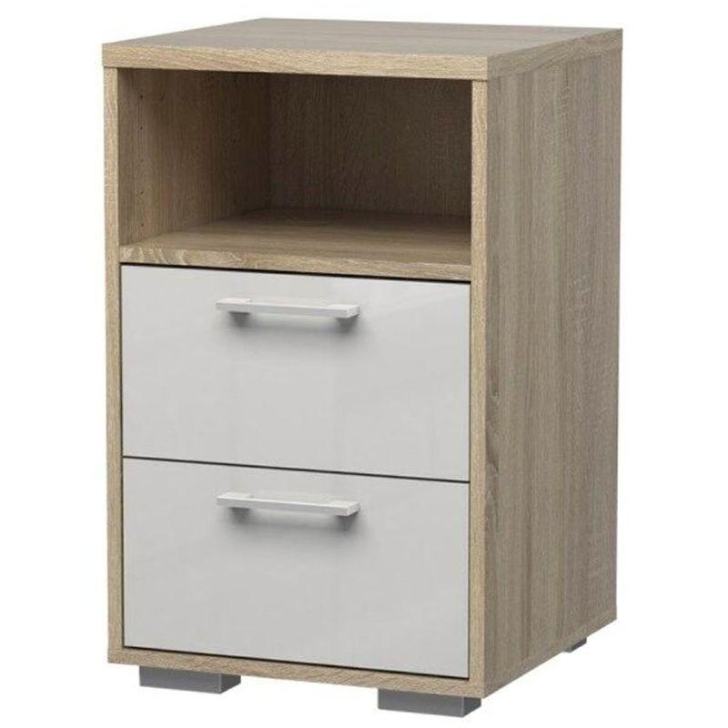 Holle Nachttisch 2 Schubladen und 1 Ablage Eiche Struktur und weiss hochglanz 07-2000265akuu - PKLINE