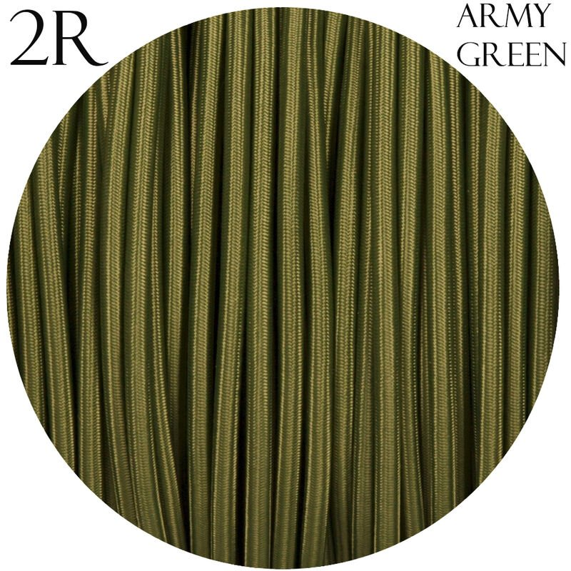Image of 0.75mm 2 core Round Vintage Braided Army Green Fabric Covered Light Flex