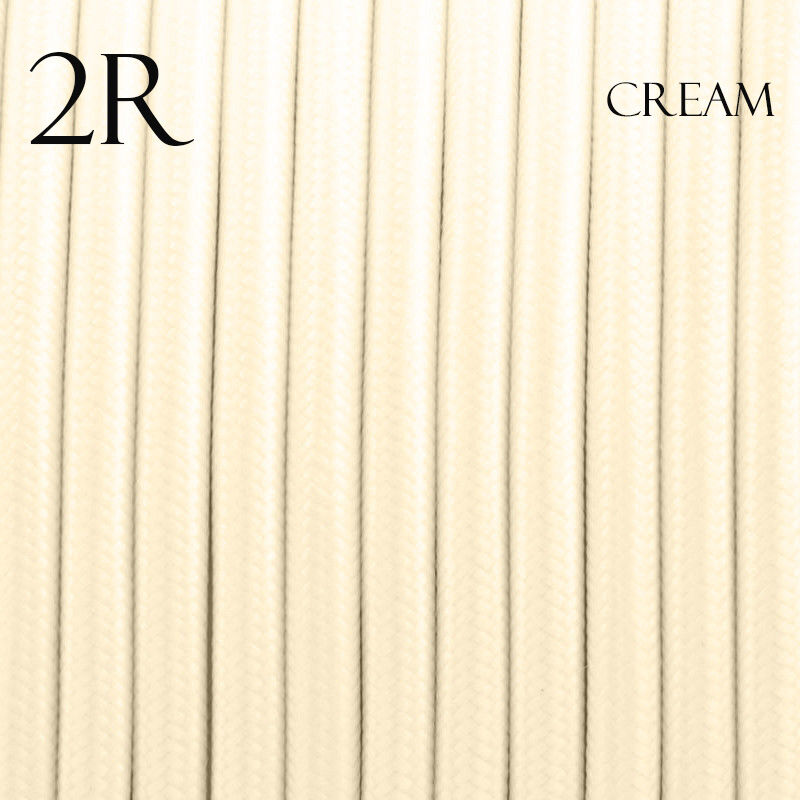 Image of 0.75mm 2 core Round Vintage Braided Cream Fabric Covered Light Flex