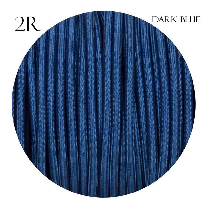 Image of 0.75mm 2 core Round Vintage Braided Dark Blue Fabric Covered Light Flex