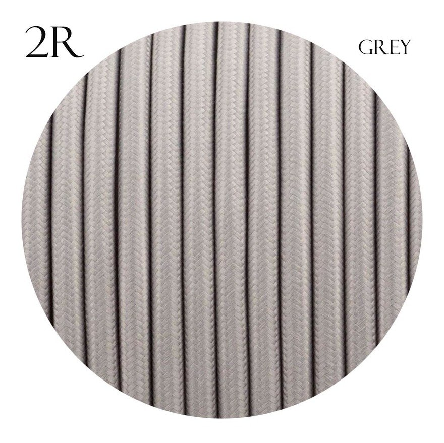 Image of 0.75mm 2 core Round Vintage Braided Grey Fabric Covered Light Flex