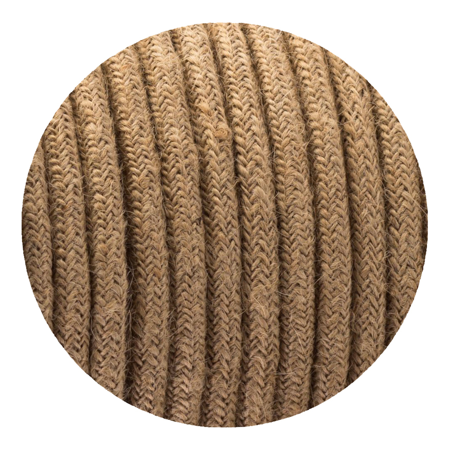 Image of 0.75mm 2 core Round Vintage Braided Hemp Fabric Covered Light Flex