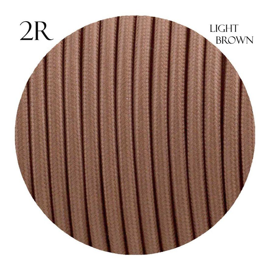 Image of 0.75mm 2 core Round Vintage Braided Light Brown Fabric Covered Light Flex