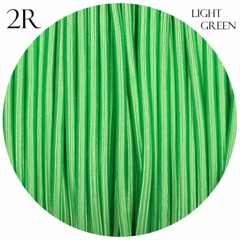 Image of 0.75mm 2 core Round Vintage Braided Light Green Fabric Covered Light Flex