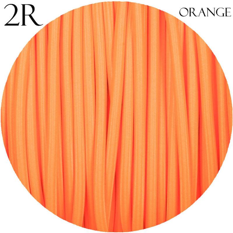 Image of 0.75mm 2 core Round Vintage Braided Orange Fabric Covered Light Flex