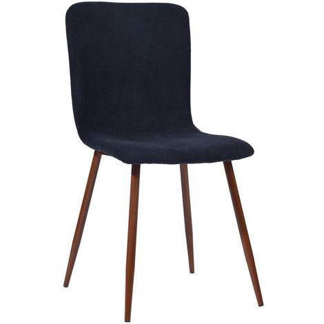 0774 Juego de 4 sillas en tela azul - Decoración de patas de madera - Escandinavo - L 44 x P 54 cm