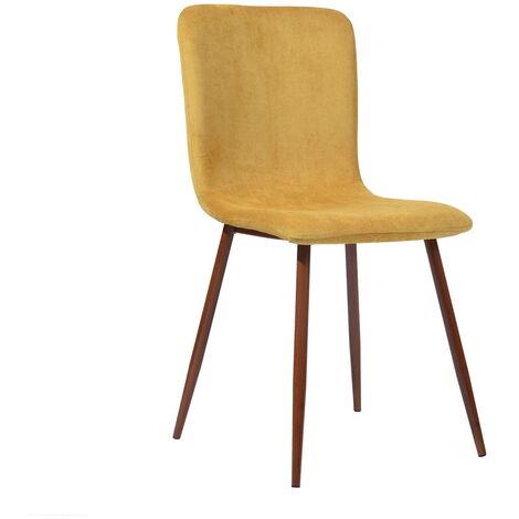 0776 Lot de 4 chaises en tissu Gris - Pieds décor bois - Scandinave - L 44 x P 54 cm
