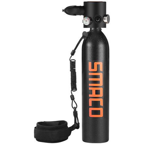 0.7L Marine Oxygene Cylindre Reservoir D'Air Plongee Sous-Marine Recharge Respirateurs Adaptateur Snorkeling Respiration Equipement Avec Longe, Noir
