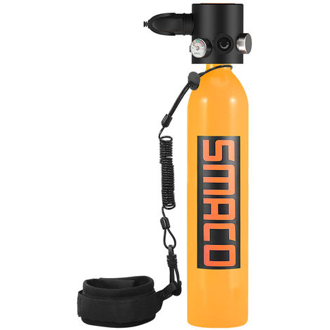 0.7L Marine Oxygene Cylindre Reservoir D'Air Plongee Sous-Marine Recharge Respirateurs Adaptateur Snorkeling Respiration Equipement Avec Longe, Orange