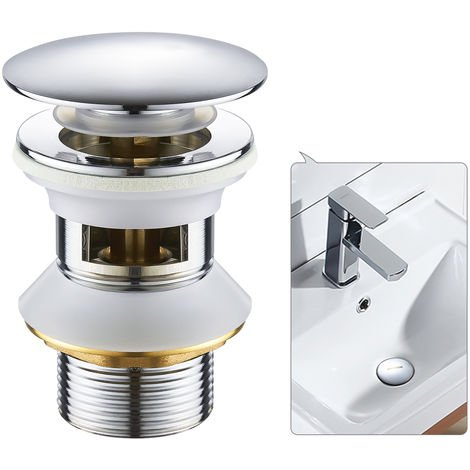 1 1/4 Universal Drain Valve with Overflow Pop Up Drain Valve for Sink Wash Basin Chrome Bathroom