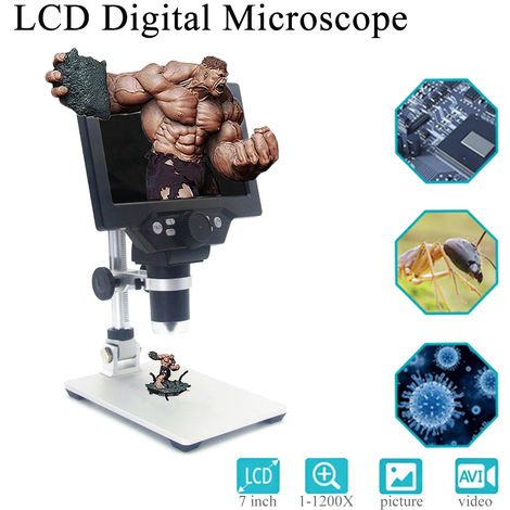 """1-1200X Zoom Microscopio electrónico digital portátil recargable Microscopio VGA de 8 LED con microscopio de pantalla HD de 12MP 7 """" Sasicare"""