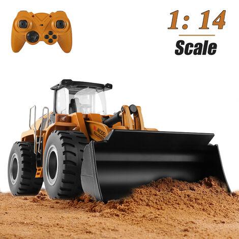 1/14 Rc Bulldozer electrique a Distance Bulldozer Controle Rc Vehicules De Construction Jouet Chargeur Pelle Metal Tracteur 2.4Ghz