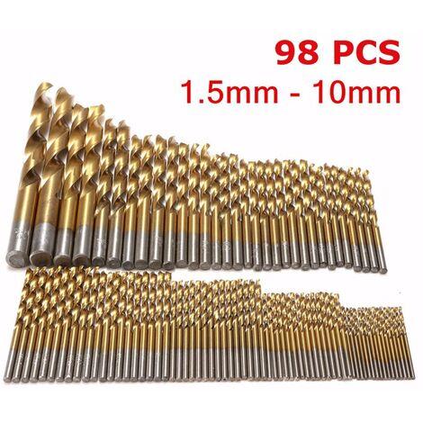 1 / 1.5 / 2 / 2.5 / 3mm HSS acier haute vitesse foret ensemble outils titane enduit 50pcs forets