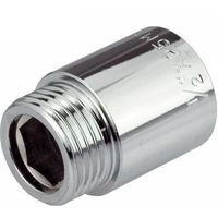 """1/2"""" BSP (15mm) Pipe Thread Extension Female x Male Chrome Brass - 50mm long"""