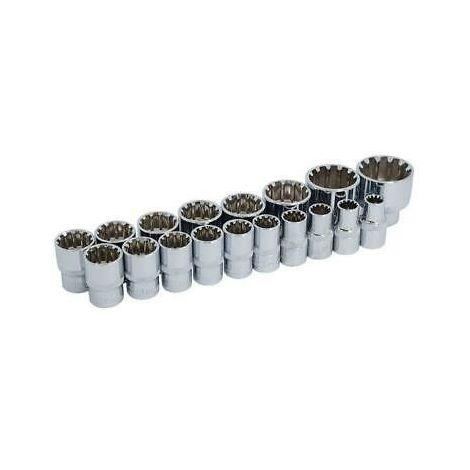 """1/2"""" dr Drive Sockets Multi-drive 18 Piece On A Rail"""