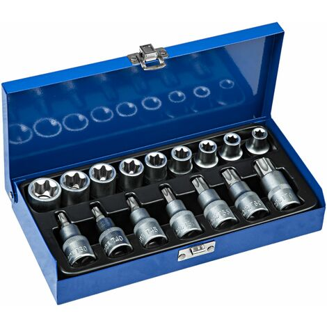 1/2 inch Torx set 17-PC. - torx bit set, torx socket set, bit set - blue