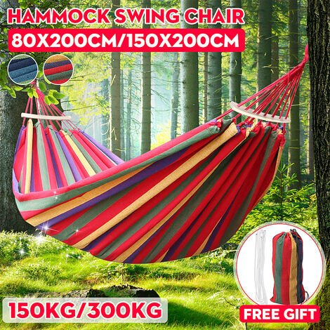 1/2 Person Portable Hanging Rope Hammock Swing Bed Camping Hiking Outdoor Sleep (Blue, 80x200cm)
