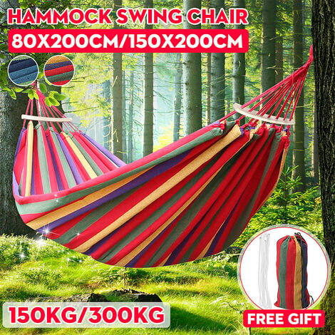 1/2 Person Portable Hanging Rope Hammock Swing Bed Camping Hiking Outdoor Sleep (Red, 80x200cm)