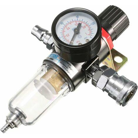 """1/4"""" Luftkompressorfilter Wasserabscheider Werkzeugsatz mit Regler Messung"""