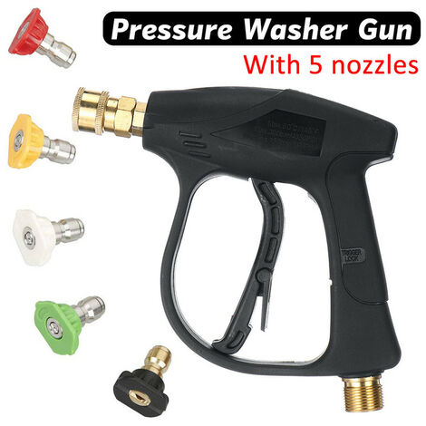 """¡¾ 1/4"""" Outlet¡¿ With Optioanl 5 Nozzles High Pressure Copper Spary Washer Water Jet 3000 PSI Pressure Power Washers With Trigger Lock For Car Washing Motorcycle Windows Roof Cleaning Washer Gun with 5 Nozzles"""