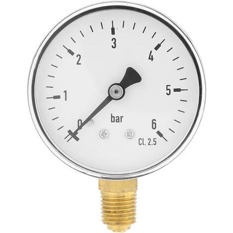 """1/4""""NPT 0-6 bar Manomètre de pression d'eau d'air Manomètre à montage latéral pour l'instrument de cadran d'huile d'air d'eau"""