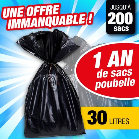 1 an de sacs poubelle - sac poubelle de 30 litres de contenance