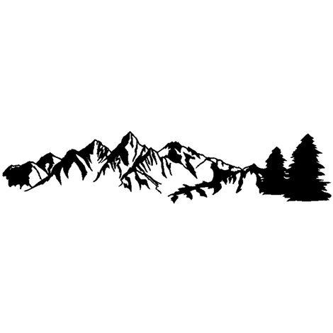 1 Autocollant De Voiture, Autocollant Reflechissant De Motif De Foret De Montagne D'Arbre, Autocollant De Porte De Remorque De Voiture De Camping, Noir