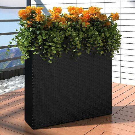 1 Bac Rectangle Pot de Fleurs en Rotin Noir