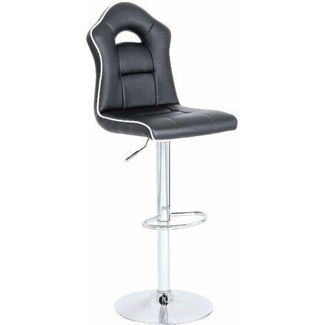 1 Bar Stool, Adjustable Bar Chair, Adjustable Swivel Breakfast Kitchen Stool with Footrest, Chrome-Plated Steel, Sports Car Seat Design, Black LJB63BUK