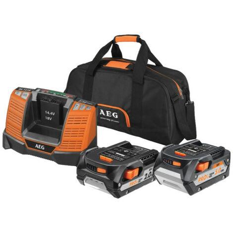 "main image of ""1 batterie AEG 18V 2,0 Ah - 1 batterie 18V 5,0 Ah - 1 chargeur - 1 sac - SETLL18X0BL - noir et orange"""