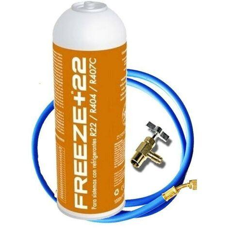 "main image of ""1 Botella Gas Ecologico Refrigerante Freeze +22 400Gr + Valvula + Manguera Organico Sustituto R22, R404, R407C"""