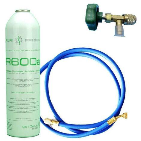 1 Botella Gas Refrigerante R600 + Manguera + Valvula 420Gr Isobutano