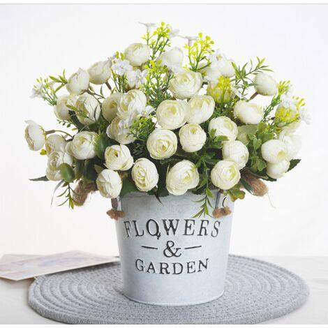 1 Bouquet 13 têtes fleurs artificielles Rose thé bourgeon fleur soie faux fleur flores pour bricolage maison jardin décoration de mariage blanc