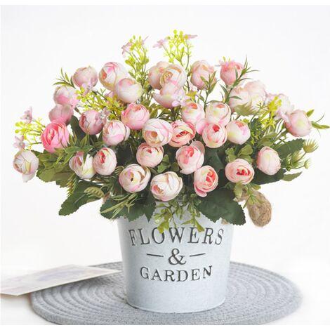 1 Bouquet 13 têtes fleurs artificielles Rose thé bourgeon fleur soie faux fleur flores pour bricolage maison jardin décoration de mariage Rose clair