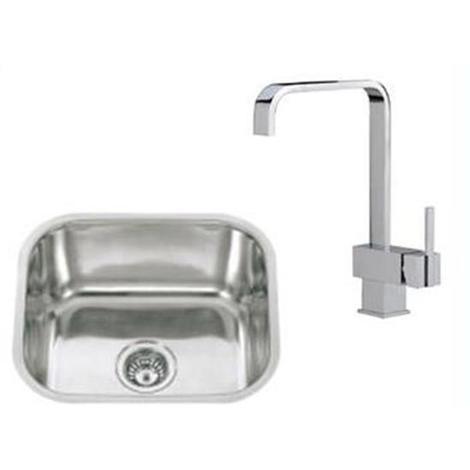 1 Bowl Stainless Steel Undermount Kitchen Sinks & Chrome Mixer Taps (KST014 mr)