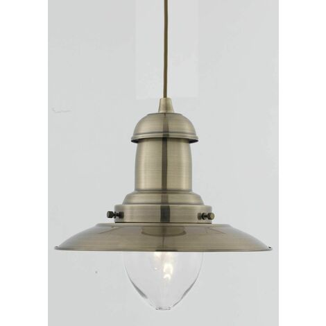 1 bulb Fisherman pendant light, antique brass and glass