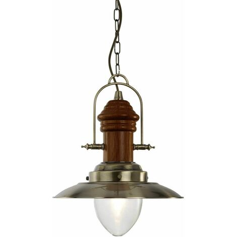 1 bulb Fisherman pendant light, antique brass, wood and glass