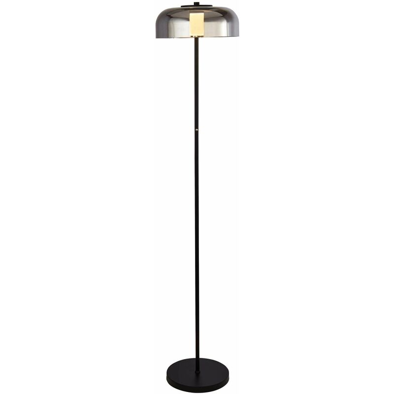 Image of 03-searchlight - 1-bulb frisbee led floor lamp, matt black with smoked glass