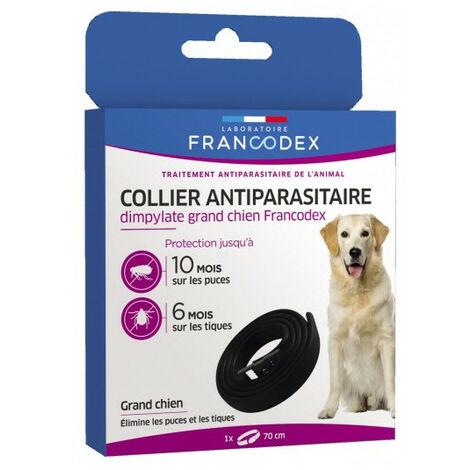 1 Collar antiparasitario Dimpylate de 70 cm. para perros. color negro