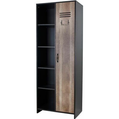1 Door Wardrobe - Black With Wood Effect
