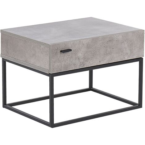 1 Drawer Bedside Table Concrete Effect CAIRO
