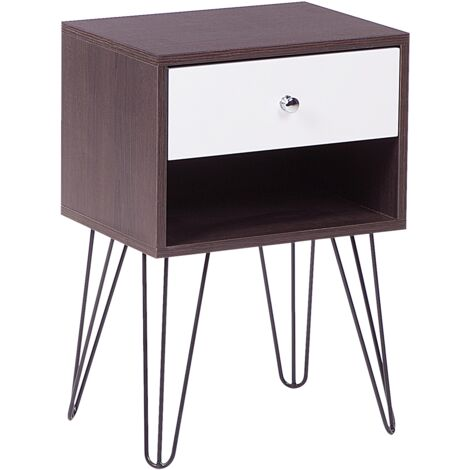 1 Drawer Bedside Table Dark Wood with White ARVIN