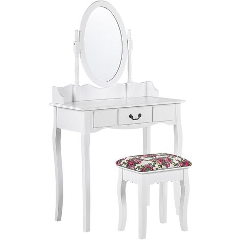 1 Drawer Dressing Table with Oval Mirror and Stool White SOLEIL