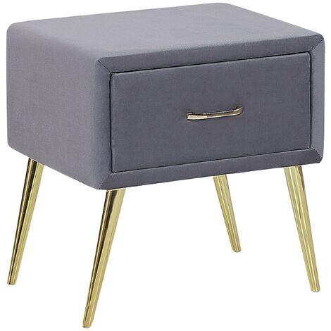 1 Drawer Velvet Bedside Table Grey FLAYAT
