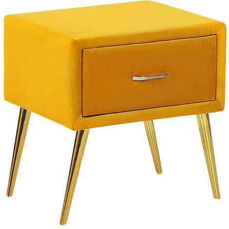 1 Drawer Velvet Bedside Table Yellow FLAYAT