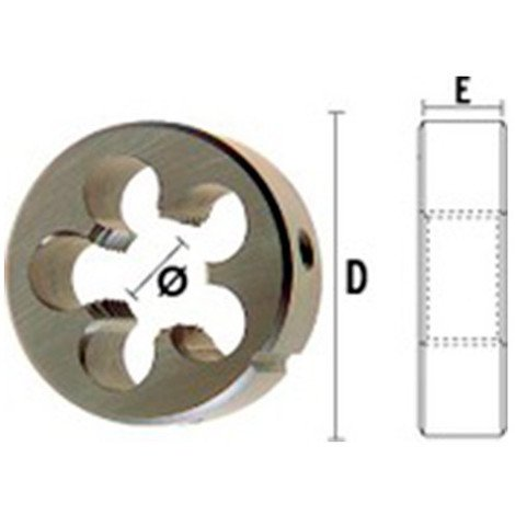 1 filière HSS DIN22568 M5,00 x 0,75 x D. ext 25 x Lu. 7 mm - 25010050720 - Hepyc