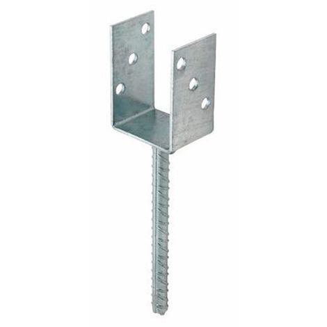 1 fixation de poteaux galvanisé à chaud en U, soudé, pied de fer à béton, 71 x 100 x 200 x 60 mm - APPT071 - Index