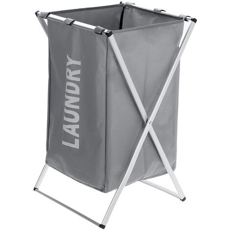 1-grid Laundry Basket Trash Bag Laundry Garment Wash Collapsible Gray Mohoo