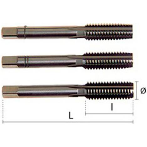 1 jeu de 3 tarauds - 3 passes - HSS DIN352 M7,00 x 1,00 x Lt. 50 x Lu. 19 mm x Q. Carrée - 23010007010 - Hepyc