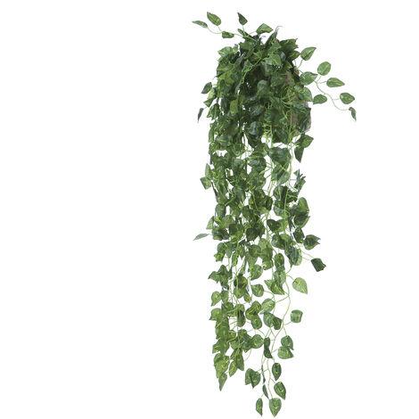 1 Las plantas artificiales vides Pc Verde Rattan falso colgado Planta de imitacion flores colgantes de pared interior de la vid